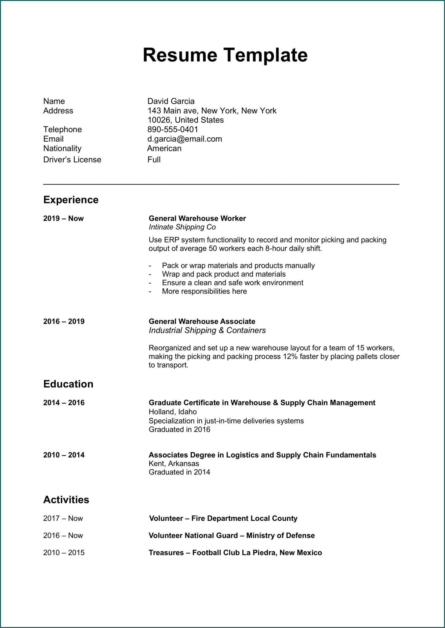 Simple Resume Format Sample