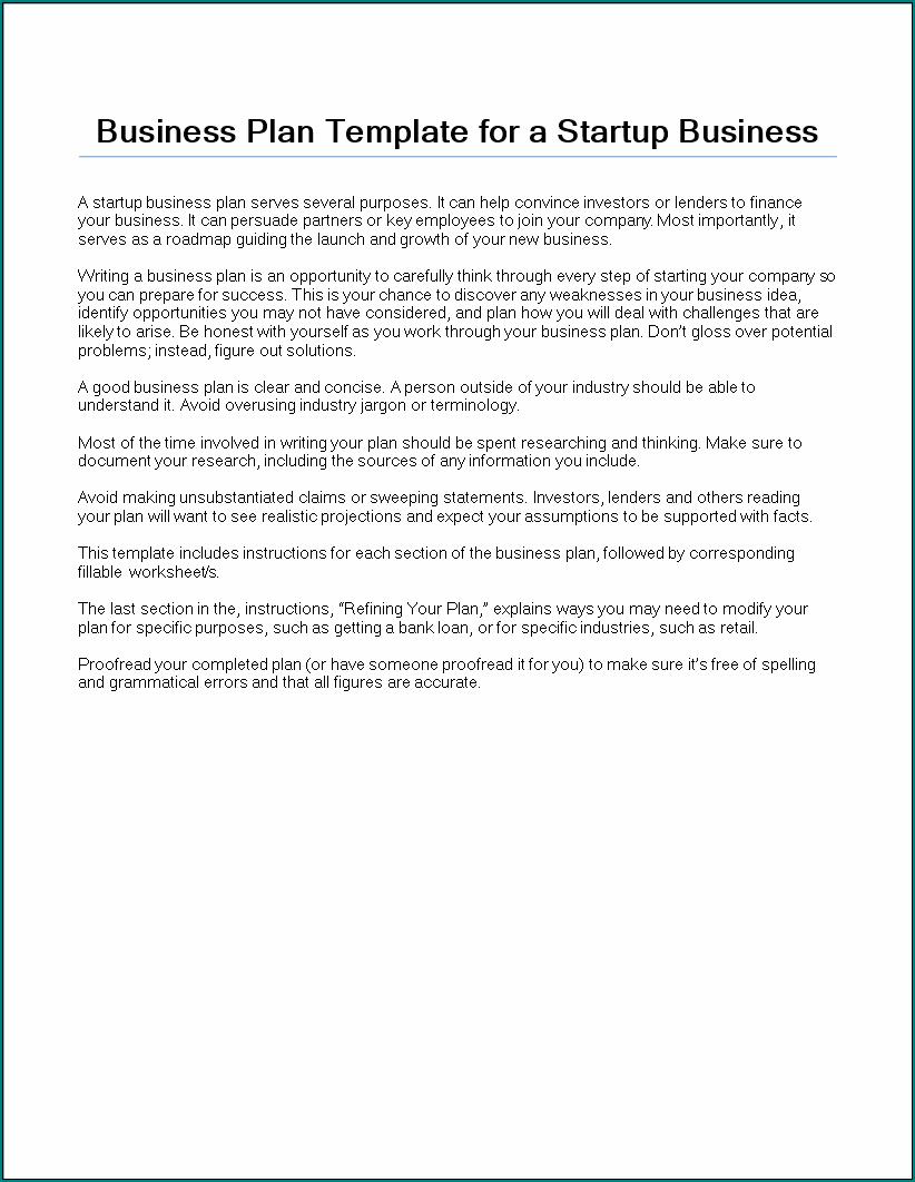 Startup Business Plan Template Sample