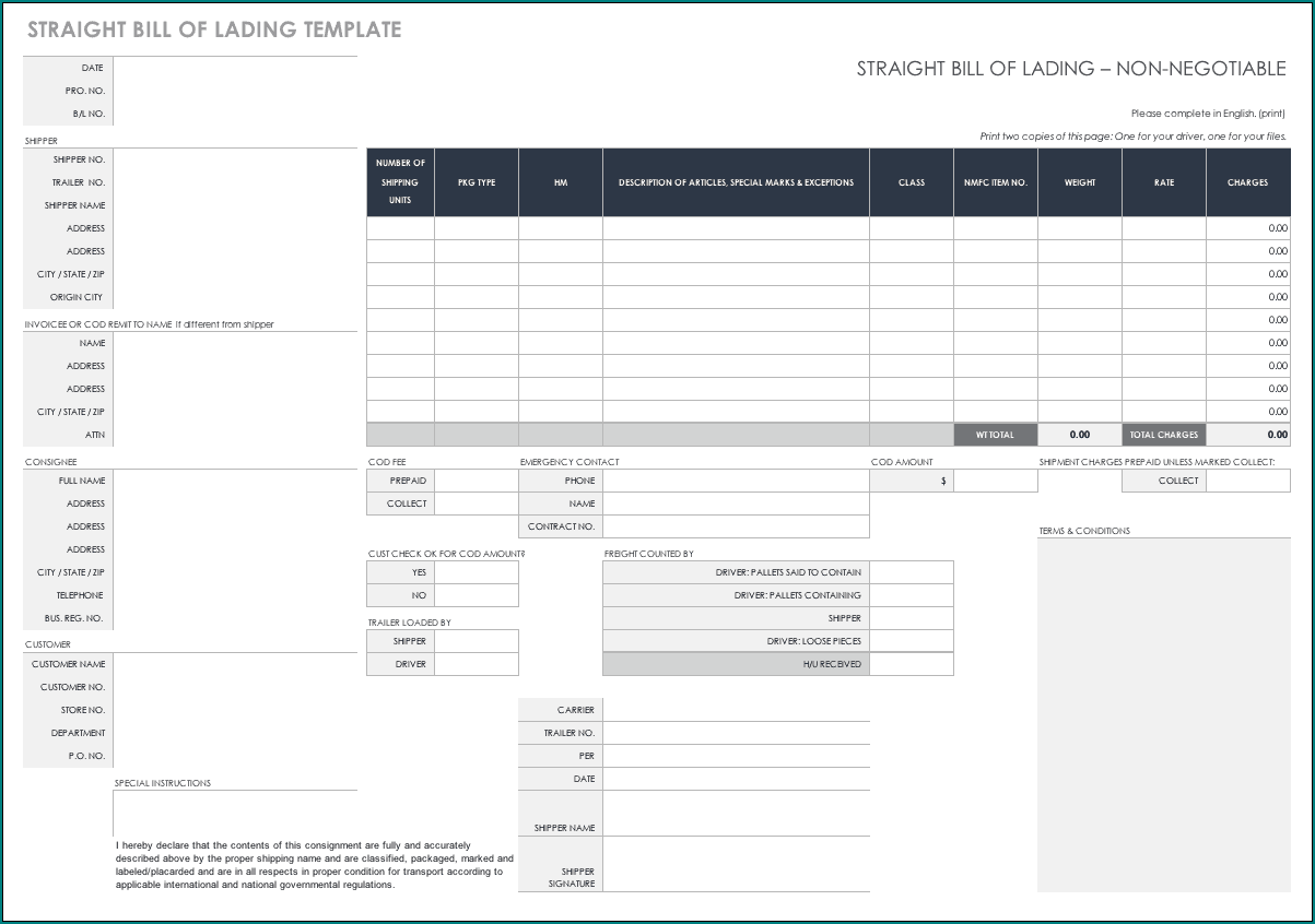 Straight Bill Of Lading Template Sample