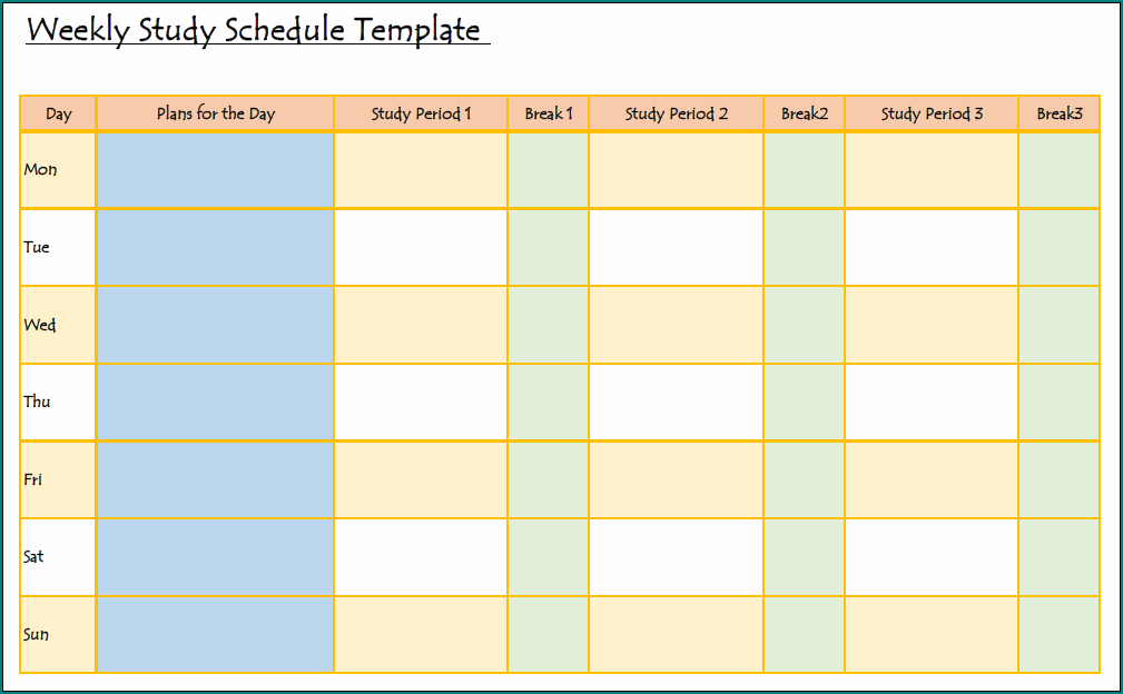 Study Schedule Template Example