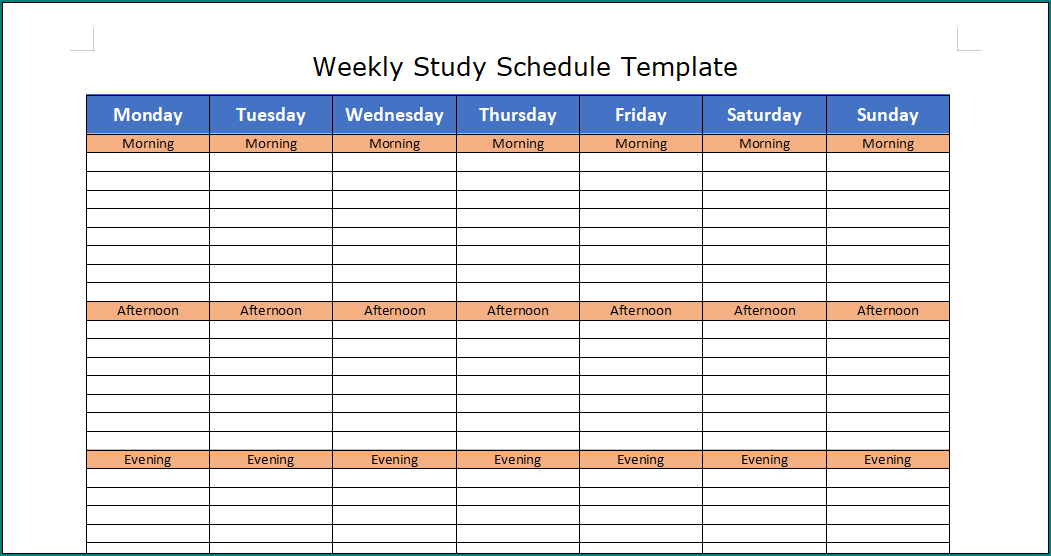 Free Printable Study Schedule Template Bogiolo