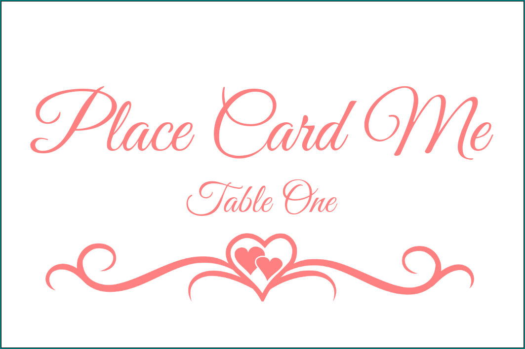 Table Name Cards Template Example