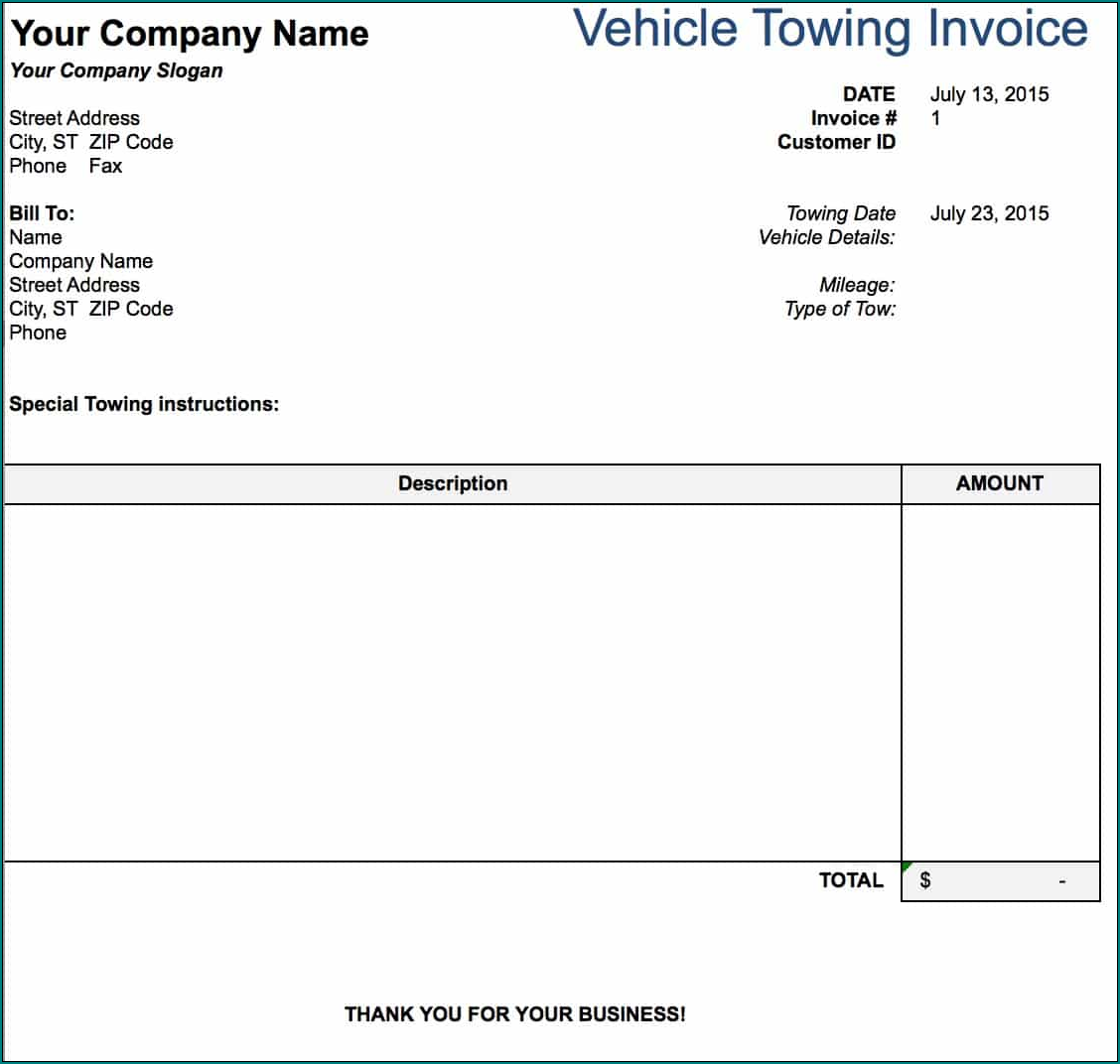 Towing Receipt Template Example