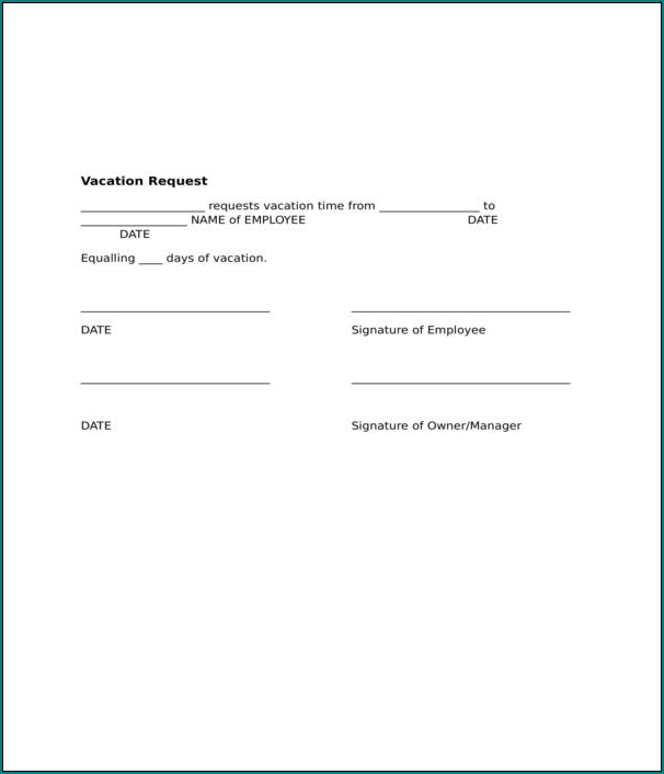 Vacation Request Form Example