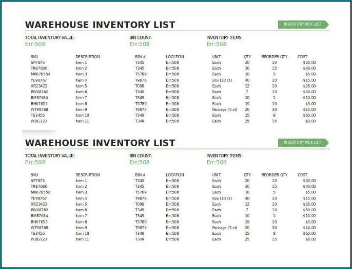 Warehouse Inventory List Template Sample