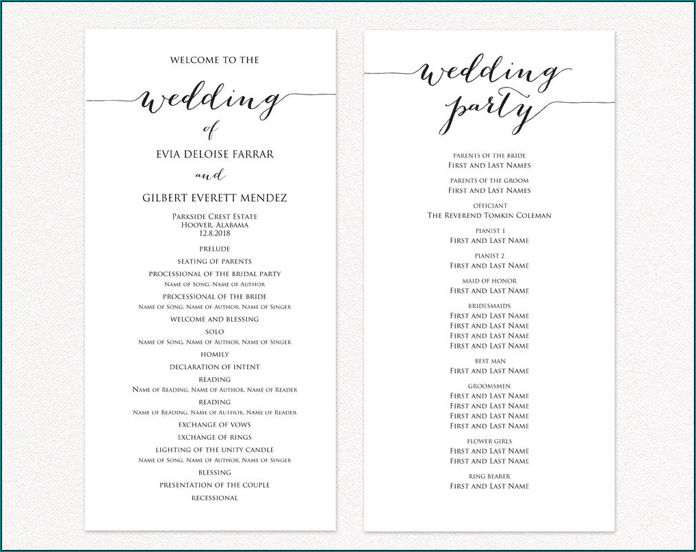 Wedding Ceremony Program Template Example