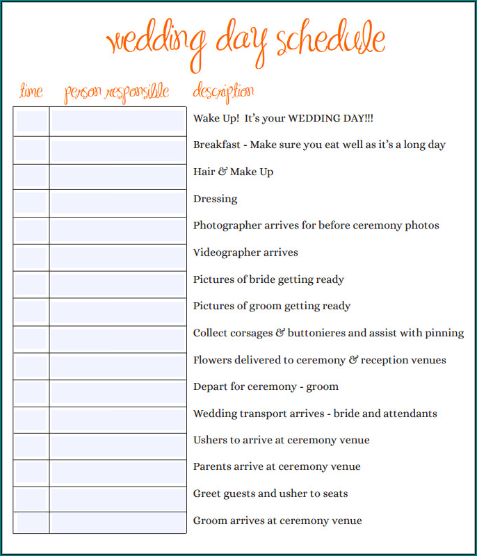 Wedding Day Schedule Template Example