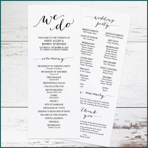Wedding Program Template Word Sample