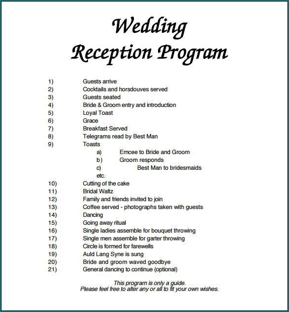 Wedding Reception Program Template Example
