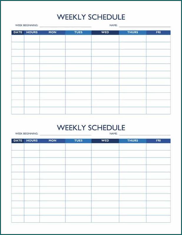 Week Schedule Template Sample