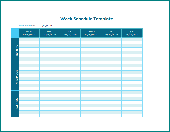 Week Schedule Template