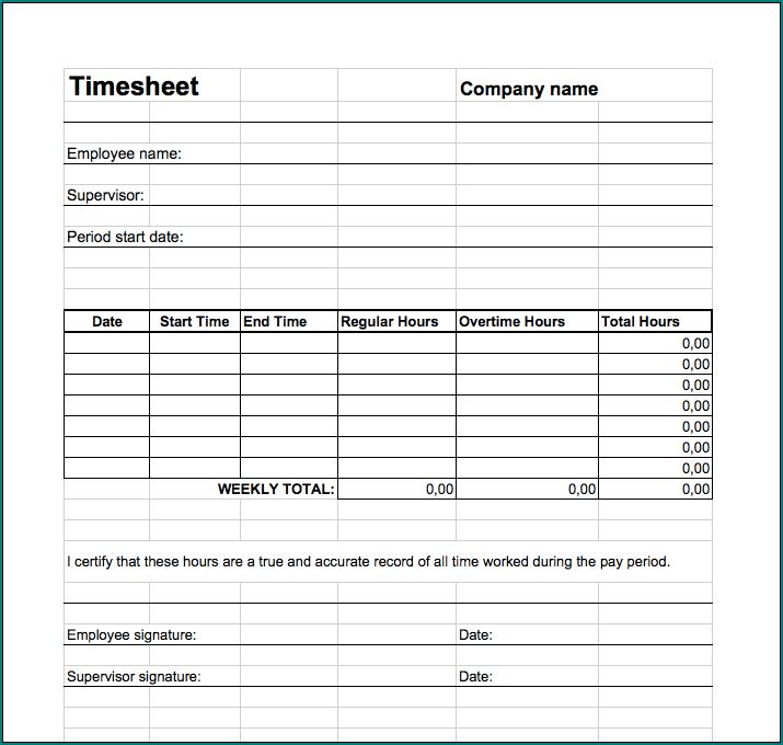 Weekly Employee Timesheet Template Example