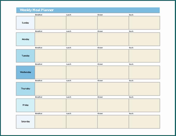 Weekly Meal Planner Template Sample