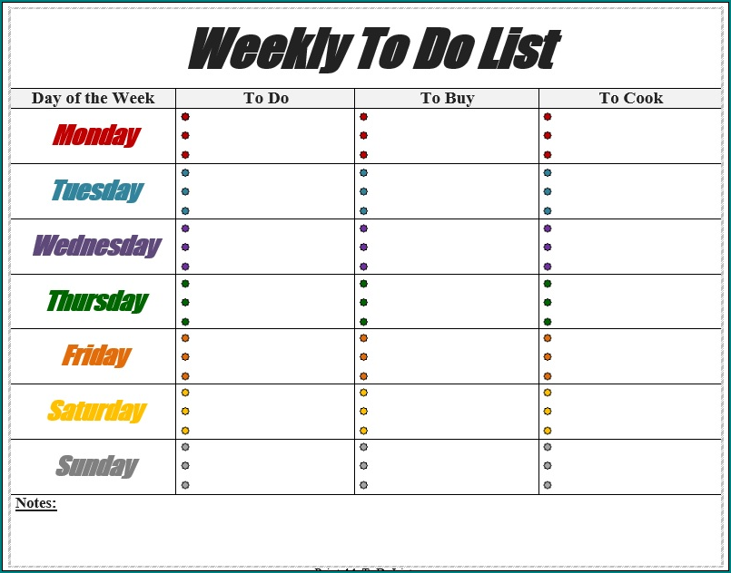 Weekly To Do List Template Sample
