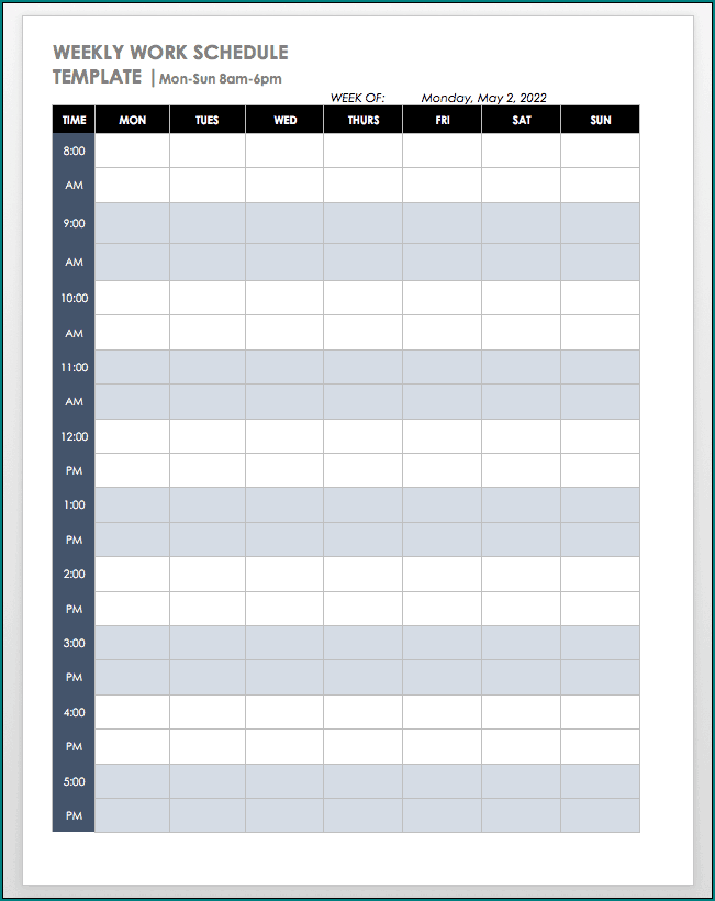 Weekly Workout Schedule Template Sample