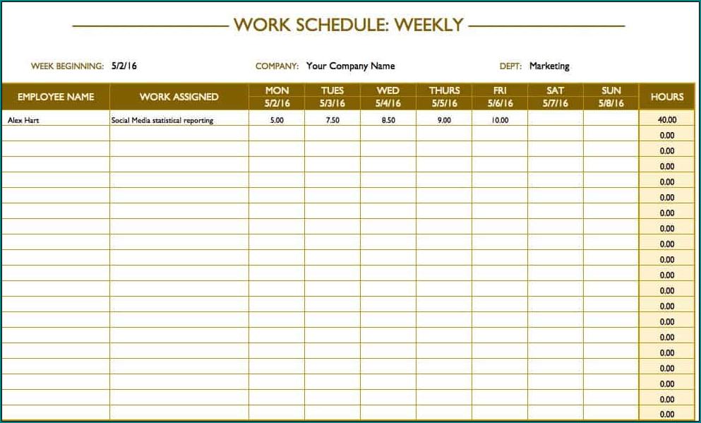 Work Schedule Template Example