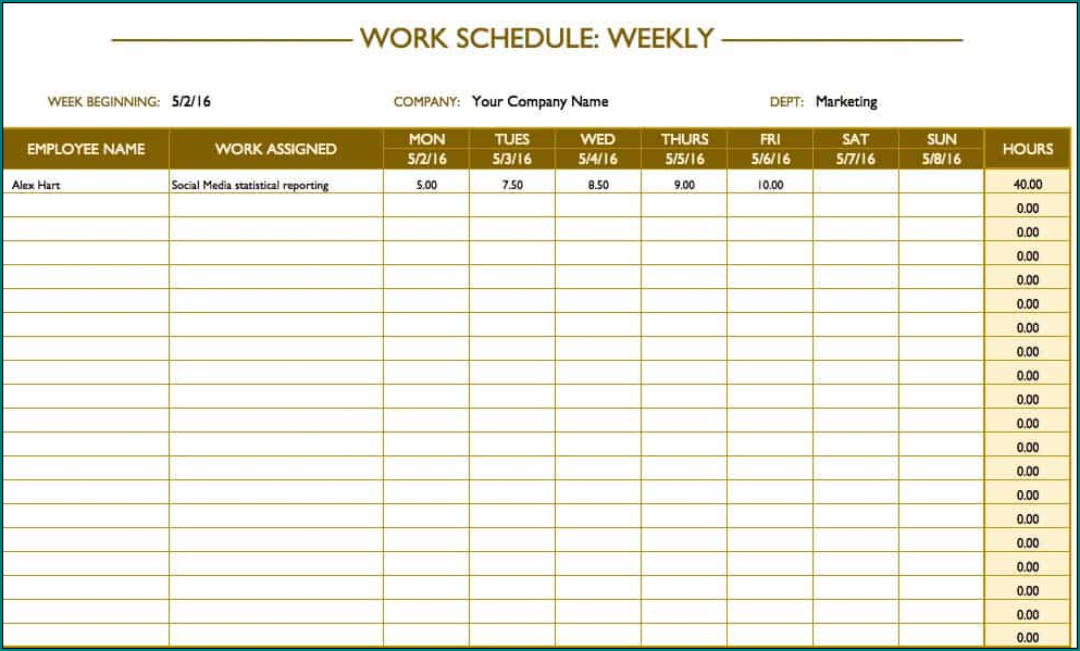 Working Schedule Template Sample