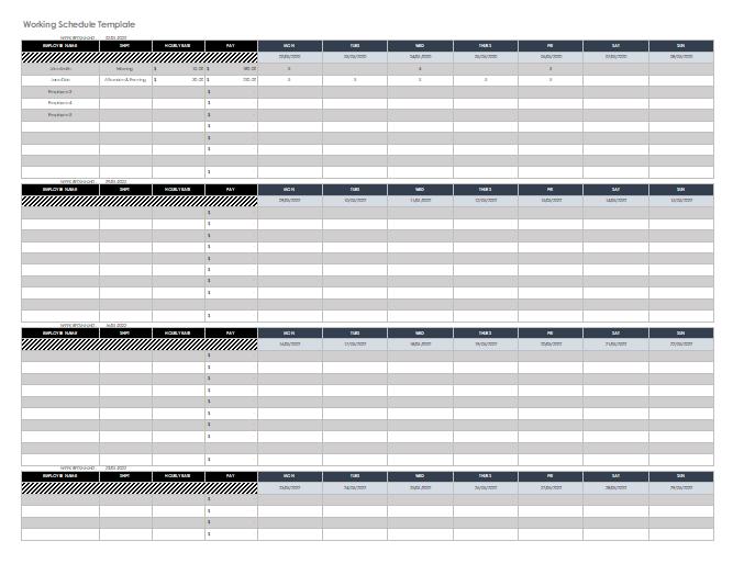 Working Schedule Template