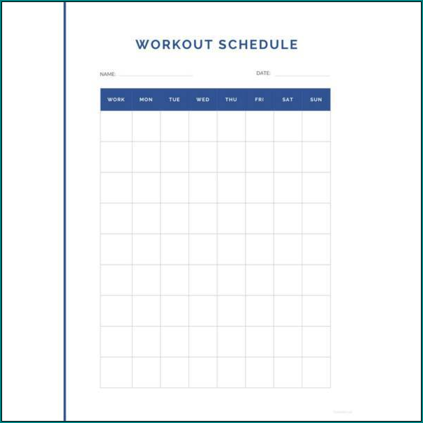 Workout Schedule Template Example