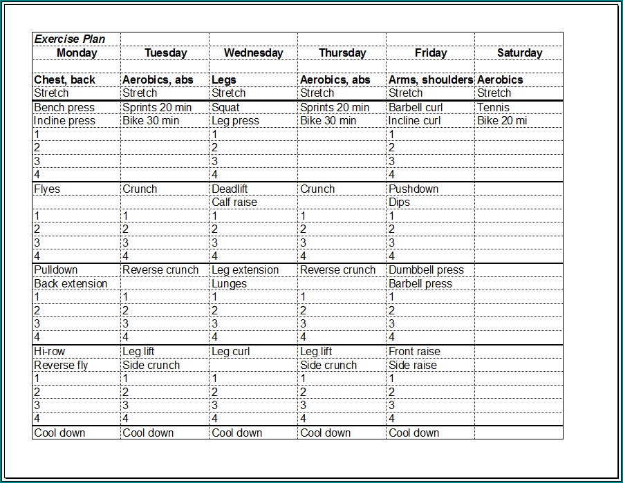 Workout Schedule Template Sample